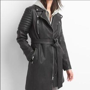 GAP Leather Moto long jacket